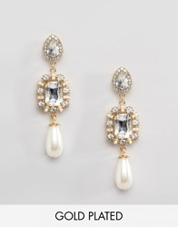 Johnny Loves Rosie Olivia Pearl Drop Earrings Gold Pearl
