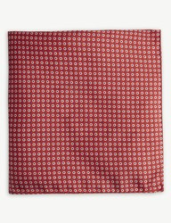 Boss Floral Silk Pocket Square Bright Red