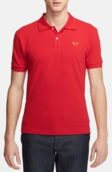 Comme Des Garcons Men's 'Play' Pique Polo With Heart Applique Red