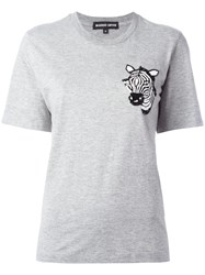 Markus Lupfer Sequinned Zebra T Shirt Grey