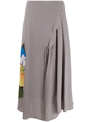 Acne Studios Floral Panel Long Skirt Grey