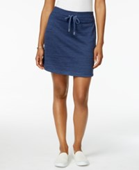 Style And Co Melange Drawstring Skort Only At Macy's Blue Combo