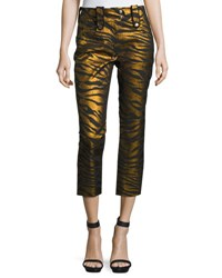 Kenzo Metallic Tiger Stripe High Rise Pants Black Gold