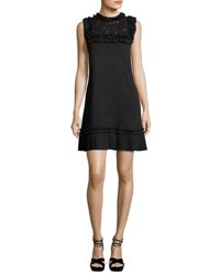 Andrew Gn Sleeveless Ruffled Lace Trim Dress Black