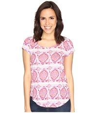 Lucky Brand Geo Striped Tee Coral Multi Women's T Shirt