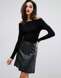 Lipsy 2 In 1 Dress With Faux Leather Skirt Black