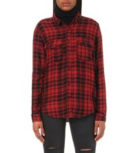 The Kooples Checked Jersey Shirt Black Gris Rouge