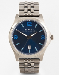 Marc By Marc Jacobs Danny Blue Detail Gunmetal Stainless Steel Watch