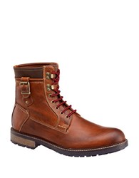 Johnston And Murphy Round Toe Leather Boots Tan