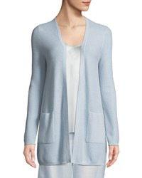 Neiman Marcus Cashmere Waffle Knit Open Front Cardigan Platinum