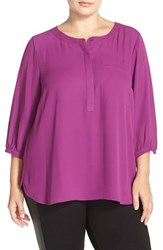 Nydj Plus Size Women's Henley Top Violet