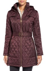 Vince Camuto Women's Belted Mixed Quilted Coat With Detachable Hood Wine