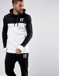 11 Degrees Hoodie In Black With White Panel