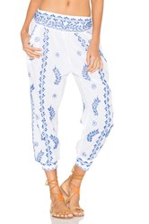 Juliet Dunn Cotton Embroidered Trousers White