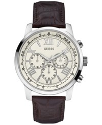 Guess Men's Chronograph Classic Sport Brown Leather Strap Watch 45Mm U0380g2