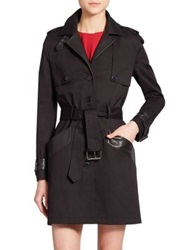 The Kooples Leather Trim Trenchcoat Black