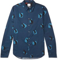 Paul Smith Ps By Slim Fit Printed Cotton Shirt Navy