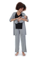 Everly Grey Roxanne During And After 5 Piece Maternity Sleepwear Set Heather Grey