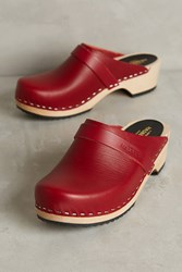 Anthropologie Swedish Hasbeens Husband Clogs Wine