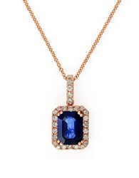 Effy Tanzanite Diamond And 14K Rose Gold Pendant Necklace Blue
