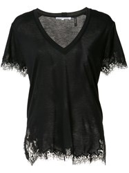 Helmut Lang V Neck Lace Detail T Shirt Black