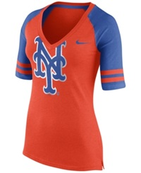 Nike Women's New York Mets Logo Fan Top T Shirt Orange