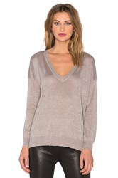 Joie Calee V Neck Sweater Metallic Neutral