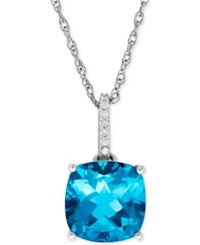 Macy's Blue Topaz 5 1 4 Ct. T.W. And Diamond Accent Pendant Necklace In 14K White Gold