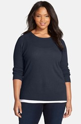 Plus Size Women's Halogen Cashmere Crewneck Sweater Navy Peacoat