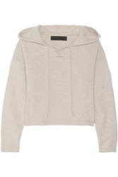 The Elder Statesman Heavy Hockey Cropped Hooded Cashmere Sweater Ecru