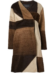 Thakoon Color Block Coat Brown