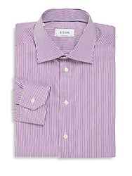 Eton Pinstripe Contemporary Dress Shirt Purple