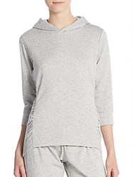 Saks Fifth Avenue Ruched Cotton Jersey Hoodie Oatmeal Grey