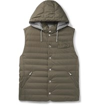 Brunello Cucinelli Quilted Nylon Hooded Down Gilet Green