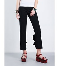 Toga Ruffled Cotton Blend Cropped Trousers Black