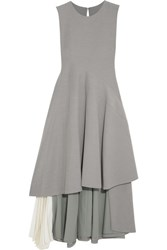 Adeam Asymmetric Chiffon Paneled Stretch Crepe Dress Gray