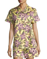 Red Valentino Short Sleeve Passionflower Print Stretch Poplin Top Multi Multi Pattern
