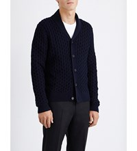 Sandro Warren Merino Wool Blend Cardigan Blue Green