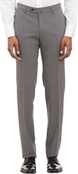 Incotex Worsted Wool Slim Trousers Gray