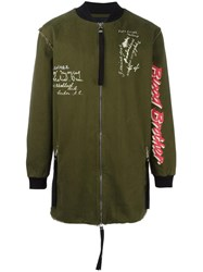 Blood Brother Stylised Prints Bomber Jacket Green
