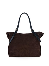 Tomas Maier East West Contrast Handle Suede Tote