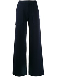 Mrz Wide Leg Knitted Trousers Blue