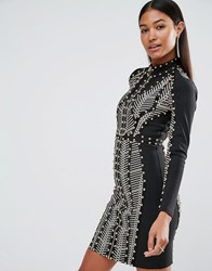 Wow Couture Longsleeved Bandage Dress With Allover Studs Black Sand Multi