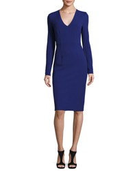 Diane Von Furstenberg Milena Long Sleeve Sheath Dress Azurite Blue