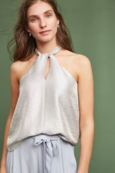 Anthropologie Twisted Halter Top Silver