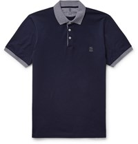 Brunello Cucinelli Slim Fit Contrast Tipped Cotton Jersey Polo Shirt Blue
