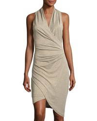 Nicole Miller Artelier V Neck Asymmetric Hem Dress Gold