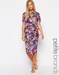 Girls On Film Petite Digital Floral Pencil Skirt Multi
