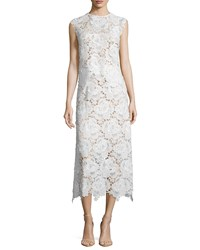 Catherine Deane Cap Sleeve Lace Two Piece Midi Dress Oyster
