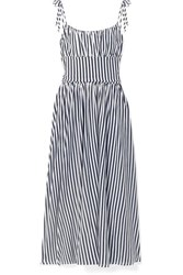 Mds Stripes Charlotte Gathered Striped Cotton Jersey Midi Dress Navy